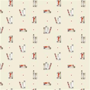 Laura Ashley Oxford Collection Dotty Books in Cream Fabric 0.5m