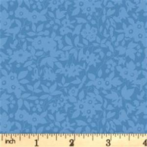 Liberty Cottage Garden Collection Blue Daisy Shadow Fabric 0.5m
