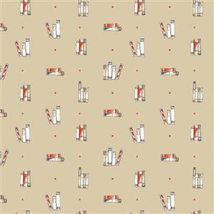 Laura Ashley Oxford Collection Dotty Books in Taupe Fabric 0.5m
