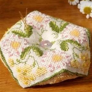 The Cross Stitch Guild Beaded Biscornu, Buttercup and Daisy on Linen