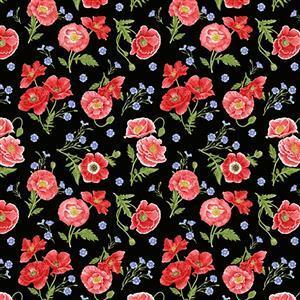 Poppy Meadows on Black Fabric 0.5m