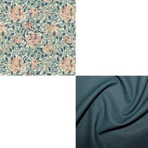William Morris Granada in Honeysuckle with Teal Fabric Bundle (1m)