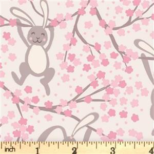 Lewis & Irene Bunny Hop Bunnies On Pink Fabric 0.5m
