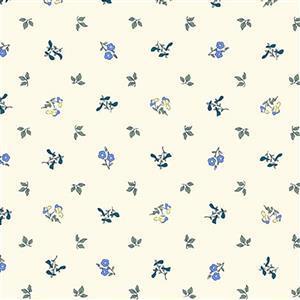 Liberty Orchard Garden Collection Blue Cream Pome Blossom Fabric 0.5m