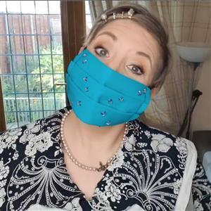 Jade Face Mask Kit: 0.5m Fabric, Elastic & Swarovski Heart Crystals (Hot Fix)