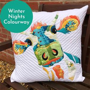 Delphine Brooks' Winter Nights Applique Daisy Cow Cushion Kit, Instructions, Fabric Panel & Fabric (0.5m)