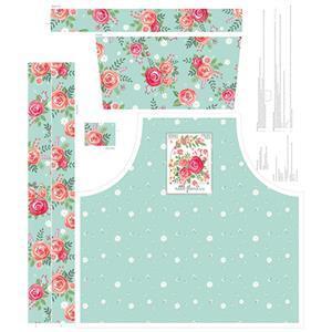 Riley Blake Poppy & Posey Apron Mint Fabric Panel 0.9m