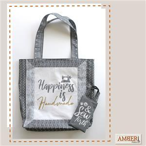 Amber Makes Charcoal Framed Tote Kit: Instructions & Fabric Panel