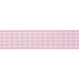 Pink & White Gingham Ribbon 4m x 15mm