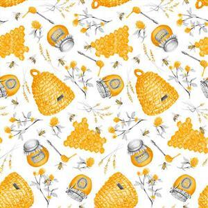 Show Me the Honey in White Honeycomb Hive Fabric 0.5m