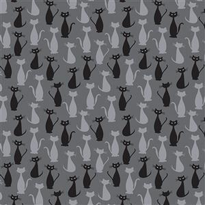 Riley Blake Spooky Hollow Charcoal Cats Fabric 0.5m