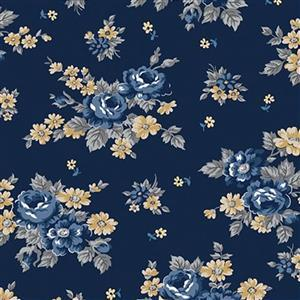 Riley Blake Delightful Roses Navy Fabric 0.5m