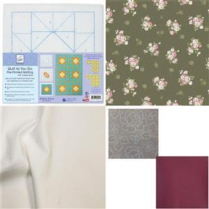 Vintage Roses Rolling Stone Quilt As You Go Kit: Pre-printed Wadding, FQ Pack (2pcs) & Fabric (2.5m)