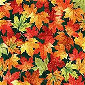 Hoffman Autumn Is In The Air Emerald Gold Fallen Leaves Fabric 0.5m