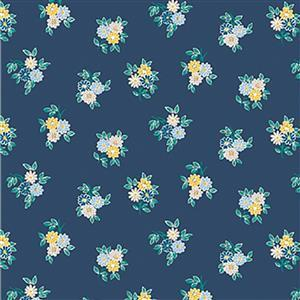 Liberty Emporium Collection Discovery Kyoto Posy Navy Fabric 0.5m