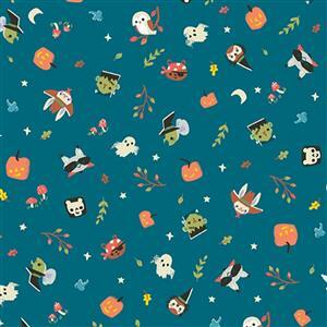 Riley Blake Tiny Treaters Teal Halloween Monsters Fabric 0.5m