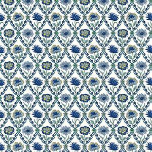 Liberty Summer House Collection in White & Blue Kew Trellis Fabric 0.5m