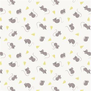 Lewis & Irene in Hungry Mice Cream Fabric 0.5m