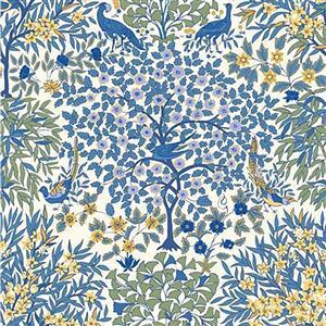 Liberty Orchard Garden Collection Blue Pheasant Garden Fabric 0.5m