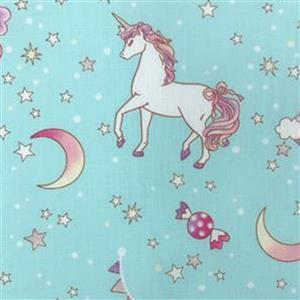 Unicorn Fantasy On Blue Fabric 0.5m