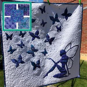 Delphine Brooks' Blue Magical Wall Hanging Kit: Instructions, FQ (5pcs) & Fabric (1m)