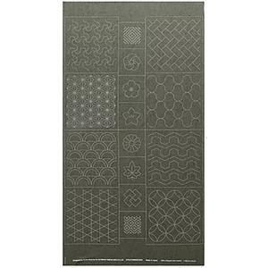 Sashiko Tsumugi Preprinted Geo 19 Dark Green Fabric Panel 108x61cm