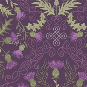 Lewis & Irene Loch Lewis Purple Thistles On Purple Fabric 0.5m