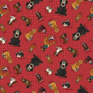 Henry Glass Dogs on Red Fabric from Rescued & Loved Range 0.5m