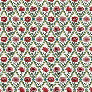 Liberty Summer House Collection in White & Red Kew Trellis Fabric 0.5m