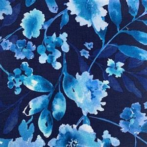 Henry Glass Midnight Sapphire in Floral Fabric 0.5m