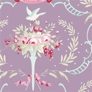 Tilda Old Rose Birdsong in Mauve Lilac Fabric 0.5m
