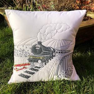 Delphine Brooks Train Monochrome Cushion Kit, Instructions, Fabric Panel & Fabric (0.5m)