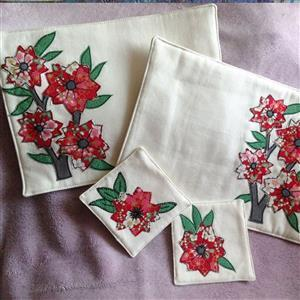 Sew with Beth Cherry Blossom Appliqued Tablemats and Coasters