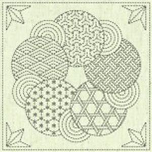 """Sashiko Circle Fabric Panel 30 cm x 30 cm (12"""" x 12"""")"""