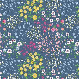 Riley Blake Poppy & Posey Navy Floral Multi Fabric 0.5m
