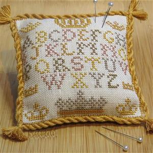 Alphabet and Crown Pincushion in Linen