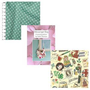 Vintage British Icons Helen Newton's Messenger Tote Bag Kit, Instructions, Fabric (1.5m)