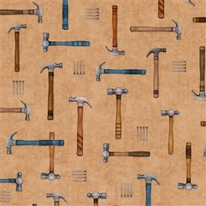 Dan Morris A Little Handy Hammer and Nails Workshop Cream Fabric 0.5m