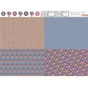 Amber Makes Basket of Flowers 4x Fatter Quarter Panel (140 x 113cm)