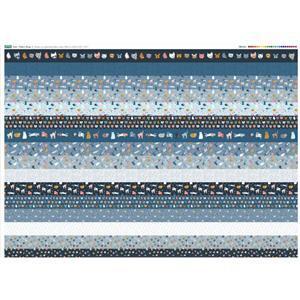 Cat Design 16 x Fabric Strips Panel - Full Width (140 x 107cm)