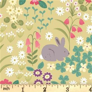 Lewis & Irene Bunny Hop Floral On Mustard Fabric 0.5m