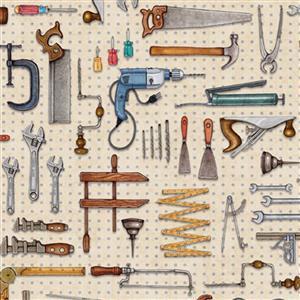 Dan Morris A Little Handy Peg Board Tools Workshop Cream Fabric 0.5m