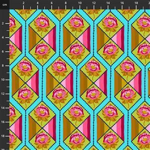 Anna Maria Horner Bright Eyes in Facets Aqua Fabric 0.5m