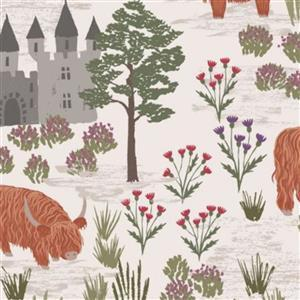 Lewis & Irene Loch Lewis Highland Scenes On Natural Fabric 0.5m
