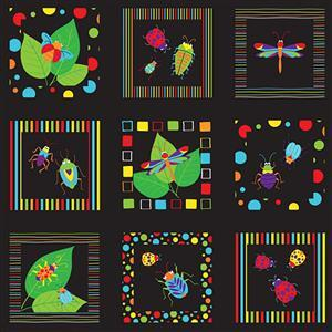 Bugs & Critters in Black Multi Squares 0.5m