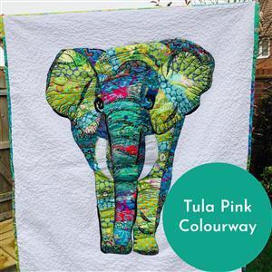 Delphine Brooks' Ella Elephant Tula Pink Applique Wall Hanging Kit: Instructions, Charm Pack & Fabric (1.5m)