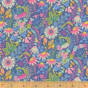 Solstice Flower Bed on Blue Fabric 0.5m