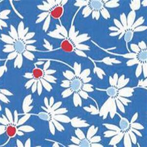 Moda Back Porch White Daisies on Dark Blue Fabric 0.5m