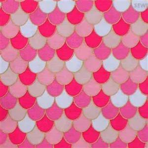 Riley Blake Ahoy Mermaids Coral Pink Metallic Fabric 0.5m