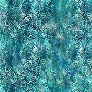 Jason Yenter Floragraphix V Turquoise Medallions Fabric 0.5m